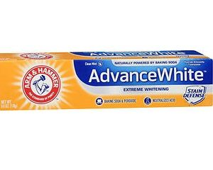 Arm & Hammer Advance White Toothpaste Baking Soda & Peroxide 6oz. Box shown.