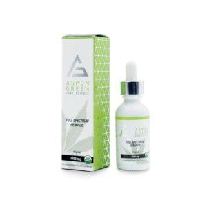 Aspen Green Full Spectrum Hemp Oil 1000mg. Box shown next to bottle.