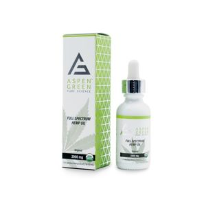 Aspen Green Full Spectrum Hemp Oil 2000mg. Box shown next to bottle.