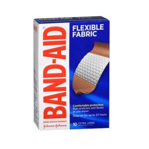 Band Aid Flexible Fabric 10 Large pack. Box shown.