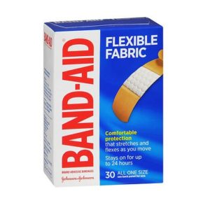Band Aid Flexible Fabric 30 pack. Box shown.