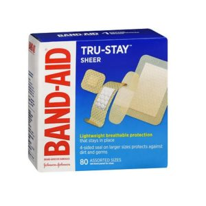 Band Aid Sheer 80 Assorted pack. Box shown.