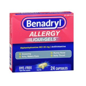 Benadryl Allergy Liquigels 24 Caps. Box shown.