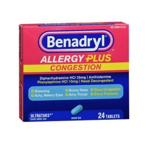 Benadryl Allergy Plus Congestion 24 Tabs. Box shown.