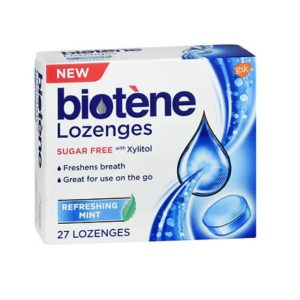 Biotene Dry Mouth Refreshing Mint 27 Lozenges. Box shown.