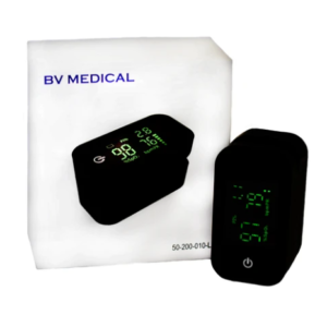 BV Medical Pulse Oximeter. Black pulse oximeter with back-lit green readings. Box shown behind product.