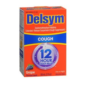 Delsym Adult Cough Liquid Grape 3oz. Box shown.