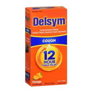 Delsym Adult Cough Liquid Orange 5oz. Box shown.