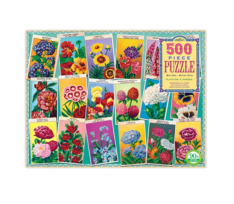 eeBoo Planting A Garden 500 Piece Puzzle. Box shown.