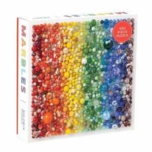 Galison Rainbow Marbles 500 Piece Puzzle. Box shown.