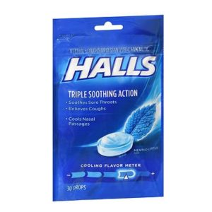 Halls Cough Drops Mentho-Lyptus 30. Bag shown.
