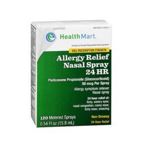 HealthMart Allergy Relief Nasal Spray 24HR .54oz. Box shown.