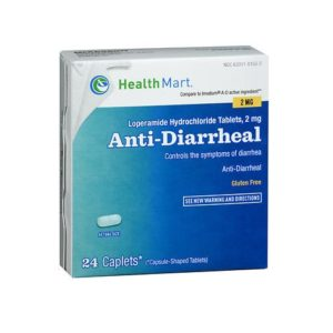 HealthMart Anti-Diarrheal 24 Caps. Box shown.