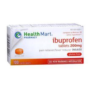 Healthmart Ibuprofen 100 Tablets. Box shown.