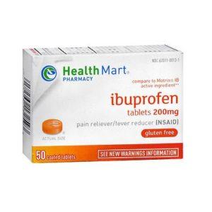 Healthmart Ibuprofen 50 Tablets. Box shown.