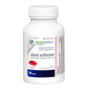 HealthMart Stool Softener 250 Softgels. Bottle shown.