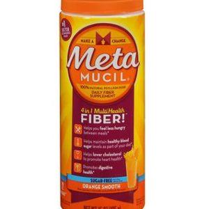 Metamucil Sugar Free Orange Smooth 72 Dose. Packaging shown.