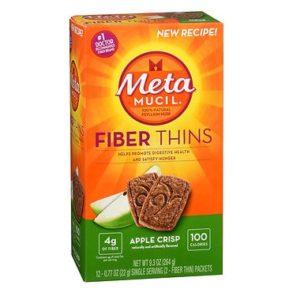 Metamucil Fiber Thins Apple Crisp 12 Wafers. Box shown.