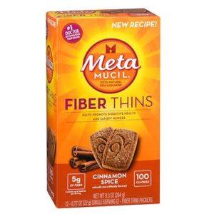 Metamucil Fiber Thins Cinnamon Spice 12 Wafers. Box shown.