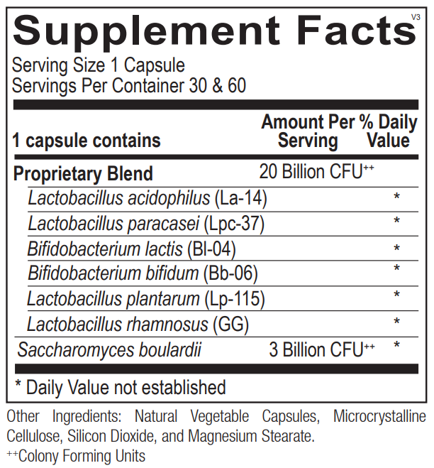 Ortho Molecular Ortho Biotic supplement facts. Image of the label on the bottle.