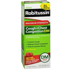 Robitussin DM Max Strength Cough and Chest 8oz. Box shown.