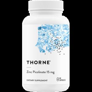 Thorne Zinc Picolinate 15mg 60 Caps. Bottle shown.