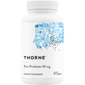 Thorne Zinc Picolinate 30mg 60 Caps. Bottle shown.