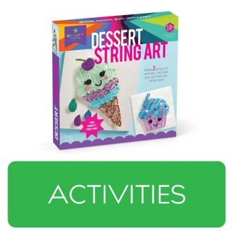 Activities category button. Picture of an activity kit over a clickable green button.