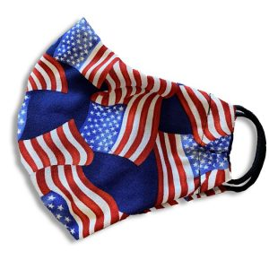 American Flag Mask. A protective mask with an American Flag pattern shown on its side.