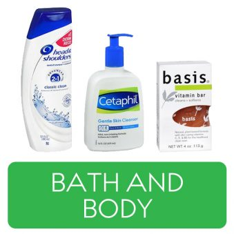 Bath and Body category button. Picture of shampoo, skin cleanser, and a bar of soap over a clickable green button.
