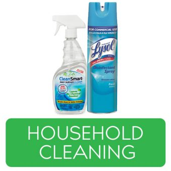 Household Cleaning category button. Picture of cleaning sprays over a clickable green button.