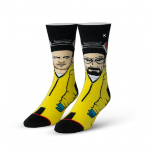 Breaking Bad ODD SOX. A pair of socks shown on mannequin feet. One sock has a full size image of a cartoon Walter White in his cooking jumpsuit. The other sock has a full size image of a cartoon Jesse Pinkman in his cooking jumpsuit.