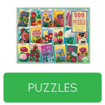 Puzzle category button. Picture of a puzzle box over a clickable green button.