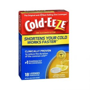 Cold-Eeze Honey Lemon 18 Lozenges. Box shown.