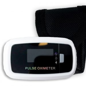 Contec CMS50D1 Pulse Oximeter. Backlit fingertip unit shown outside of box in front of black carrying case.