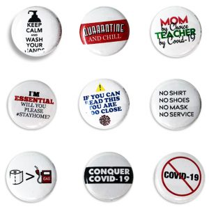 Naperville Jaycees Food Giving Committee Collectible Buttons. Set of 9 buttons with COVID-19 related pictures and phrases.