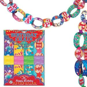 eeBoo Birthday Chain Kit. Packaging shown with unpackaged, multicolored paper chains on the top and right side of the image.