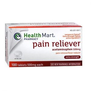 Healthmart Pain Relief Extra Strength Tabs 100. Box shown.