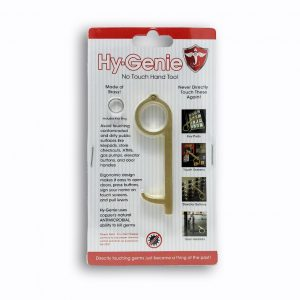 Hy-Genie No-Touch Hand Tool packaging. The front of the Hy-Genie package, information and images shown.