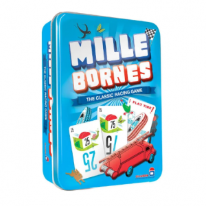 Mille Bornes game. Tin box packaging shown.