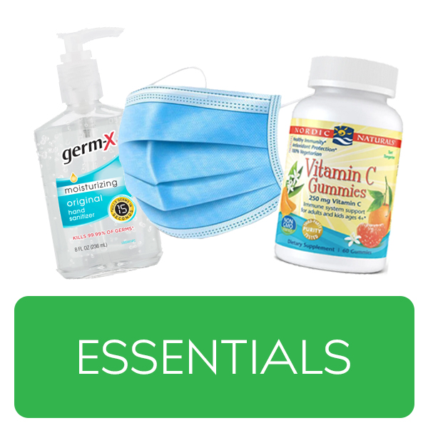 Essentials category button. Essential home health products over a green button.