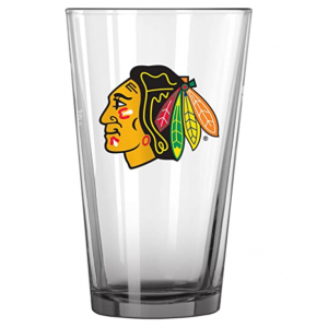 Chicago Blackhawks Pint Glass. Clear glass with the Chicago Blackhawks logo on front.
