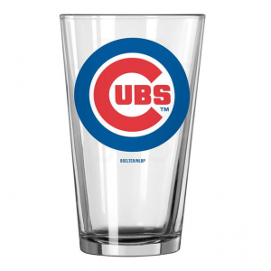 Chicago Cubs Pint Glass. Clear glass with Chicago Cubs logo on the front.