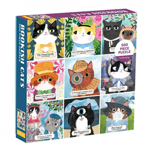 Galison Bookish Cats 500pc Puzzle. Box shown.