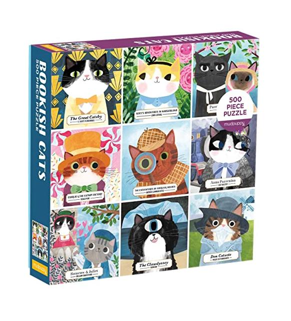 Galison Bookish Cats 500pc Puzzle. Box shown.