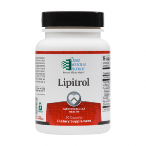 Ortho Molecular Lipitrol 60 Capsules. Bottle shown.