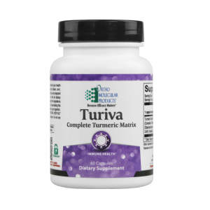 Ortho Molecular Turiva Complete Tumeric Matrix 60 Capsules. Bottle shown.
