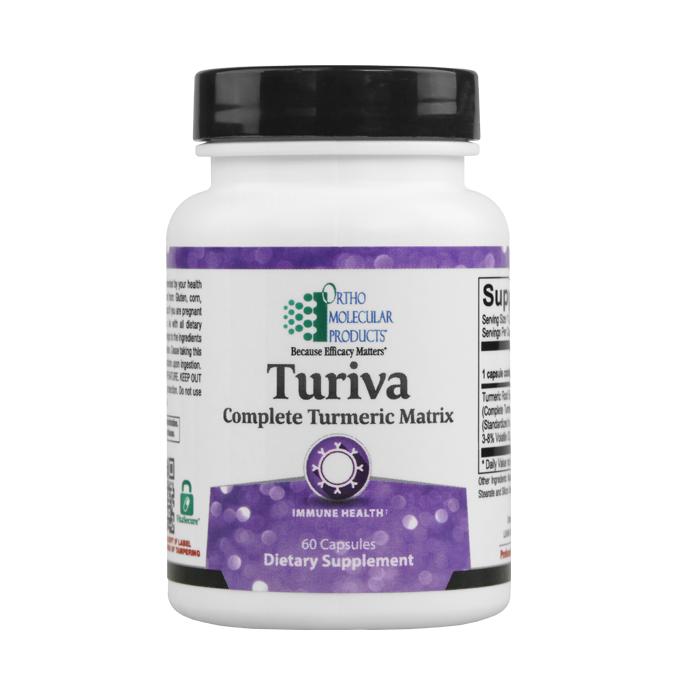 Ortho Molecular Turiva Complete Tumeric Matrix 60 Capsules. Bottle shown.