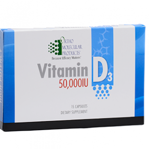 Ortho Molecular Vitamin D3 50,000 IU 15 Capsules. Box shown.