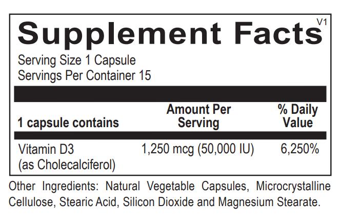 Ortho Molecular Vitamin D3 50,000 IU Supplement Facts.